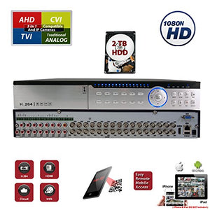 EVERTECH 32 Channel H.264 High Profile Hybrid 4-in-1 (Analog/AHD/TVI/CVI) Security DVR Recorder for Surveillance System with 2TB HDD Installed and Pre-Configured