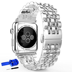 HUANLONG Compatible with Apple Watch Band, Solid Stainless Steel Metal Replacement Watchband Bracelet with Compatible with iWatch Series 1/2/3/4/5(LS 42mm Silver)