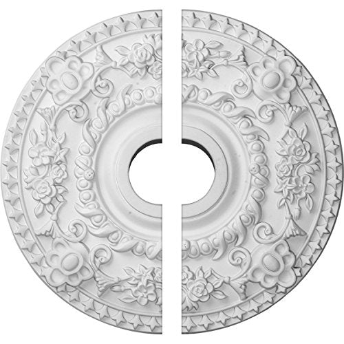 "Ekena Millwork Cm18 Ro2 Rose Ceiling Medallion, 18""Od X 3 1/2""Id X 1 1/2""P (Fits Canopies Up To 7 1/4"