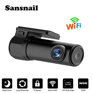 Sansnail Mini Dash Cam Wifi Full HD 1080P Car Blackbox Car Dash Cams DVR Dashboard Camera170 Wide Angle Lens Built In G-Sensor Motion Detection Loop Recorder Night Vision, SD Card is NOT Included