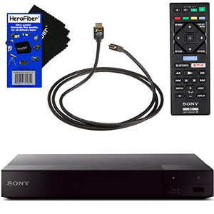 Sony BDPS6700 4K Upscaling Blu-ray Disc Player with Built-in Wi-Fi + Remote Control + Xtech High-Speed HDMI Cable with Ethernet + HeroFiber Ultra Gentle Cleaning Cloth