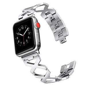 Secbolt Bands Compatible Apple Watch Band 42mm X Pattern Stainless Steel Wristband Sport Strap iWatch Series 3/2/1, Silver without Rhinestones