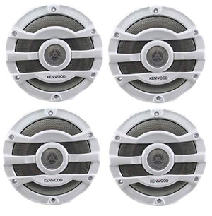 4) Kenwood 8 Inch 300 Watt Powersports/Marine Boat White Speakers | KFC-2053MRW