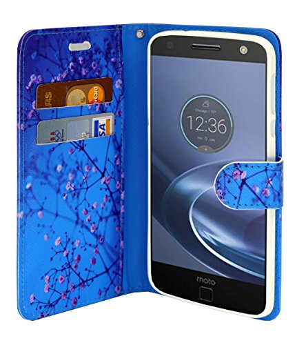 Moto Z Force Case Wallet Case, Slim Flip Folio [Kickstand Feature] Pu Leather Wallet Case with ID & Credit Card Slot For Moto Z Force Edition - With Accessories (Ocean)