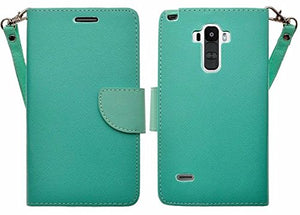 LG G Stylo Case, LG G Vista 2 Case, Wrist Strap Magnetic Flip Fold[Kickstand] Pu Leather Wallet Case with ID & Credit Card Slots for LG Vista2/Stylo -Teal