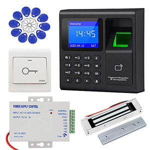 LIBO Complete RFID Access Control System Fingerprint Access Controller Keypad, DC12V Power Supply Transformer, 180kg/350lbs Electric Magnetic Lock with Door Switch Button, 125KHz ID Cards Keychains