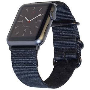 Carterjett Extra Large Nylon Compatible With Apple Watch Band 42mm 44mm Xl Black Replacement Militar