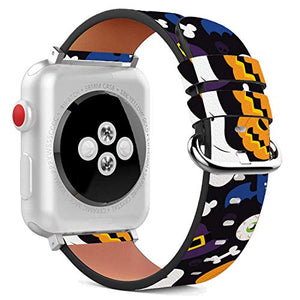 Compatible with Apple Watch - 38mm / 40mm (Serie 6/5/4/3/2/1) Leather Wristband Bracelet with Stainless Steel Clasp and Adapters - Halloween Ghost Bat