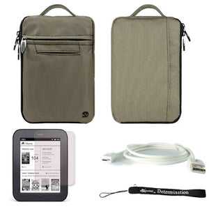 Gray Mighty Nylon Jacket Slim Compact Protective Sleeve Bag Case for Barnes and Noble Nook Simple Touch eBook Reader BNRV300 and White Micro USB Cable and Anti Glare Screen Protector and Hand Strap