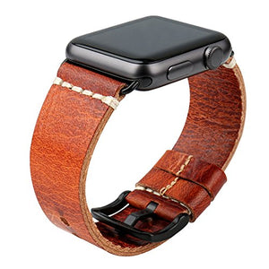 MAIKES Wristband Vintage Oil Wax Leather Strap for Apple Watch Band 42mm 38mm Series 3 2 1 iWatch Bracelet (for Apple Watch 42mm, Orange+Black Clasp)