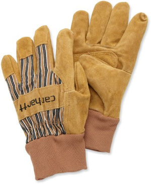 Carhartt Men's Suede Work Glove With Knit Cuff, Brown, Large