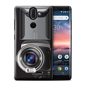 Phone Case for Nokia 8 Sirocco 2018 Camera Video Camcorder Design Transparent Clear Ultra Slim Thin Hard Back Cover
