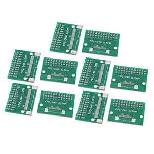 uxcell 10Pcs FPC-24P Multiple Pitch 0.5mm/1.0mm TFT LCD Test FPC Adapter Board Green