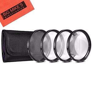 46mm Close-Up Filter Set (+1, 2, 4 and +10 Diopters) Magnification Kit for Panasonic Lumix DMC-G7 DSLM Mirrorless 4K Camera with 14-42mm Lens Kit