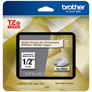 Brother P-touch TZe-PR234 Gold Print on Premium Glitter White Laminated Tape 12mm (0.47) wide x 8m (26.2) long