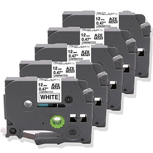 5 Pack Compatible with Brother Laminated Label Tape TZe-231 TZ 231 Cartridge Black on White for PT-D210 PT-H100 Label Maker 12mm 0.47 Inch x 26.2 Feet