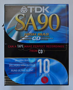 TDK SA90 High Bias CD Super Avilyn Type II Audio Cassette Tapes - Pack of 10
