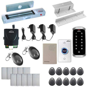 Visionis FPC-5601 One Door Access Control System Inswing Door 300lbs Magnetic Lock with VIS-3003 Slim Outdoor IP68 RFID Keypad Entry Security with Wireless Remote EM MFR Standalone 2000 Users Kit