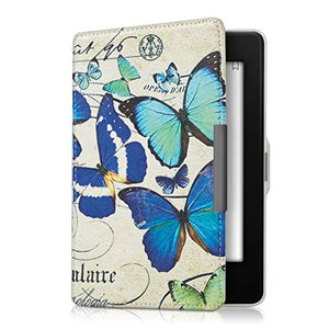 kwmobile Case for Amazon Kindle Paperwhite - Book Style PU Leather Protective e-Reader Cover Folio Case - (for 2017 and Older) Vintage Butterflies Blue/Mint/Beige