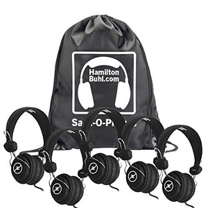 HamiltonBuhl Sack-O-Phones, 5 Black Favoritz Headsets with in-Line Microphone and TRRS Plug