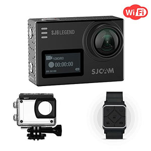 SJCAM SJ6 Legend 4K WiFi Action Camera Dual Screen- 2.0 Touchscreen 0.9 Front LCD Screen 170 Degree Wide Angel Gyro Stabilizatio External Microphone Supported Including Remote Wrist Watch