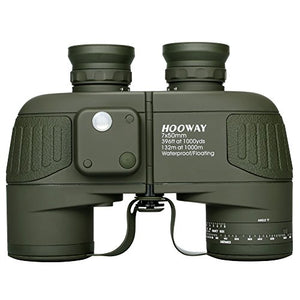 Hooway 7x50 Waterproof Floating Marine Binocular w/Internal Rangefinder & Compass for Navigation,Boating,Water Sports,Hunting,Bird Watching and More(Army Green
