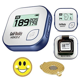 Golf Buddy Voice 2 Golf Gps/Rangefinder Bundle With Ball Marker And Magnetic Hat Clip (Smiley Face)