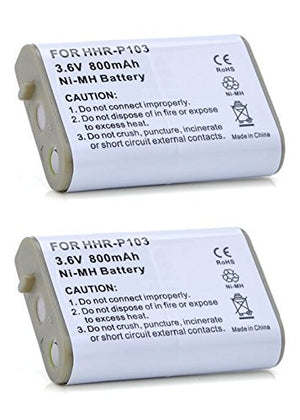 2 Pack of AT&T 102 Battery - Replacement AT&T Cordless Phone Battery (800mAh, 3.6V, NIMH)