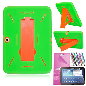 For Samsung Tablet Galaxy Tab 3 10.1 Case, EpicGadget(TM) Green and Orange Shockproof Heavy Duty Rugged Impact Hybrid Case with Built In I Kickstand Protective Cover [Dose NOT Fit Galaxy Tab NOTE 10.1