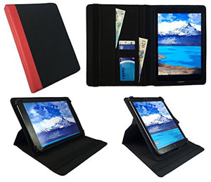 Sweet Tech Mediacom SmartPad HX 8 HD 8 Inch Black with Red Trim Universal 360 Degree Rotating Wallet Case Cover Folio with Card Slots (7-8 inch)