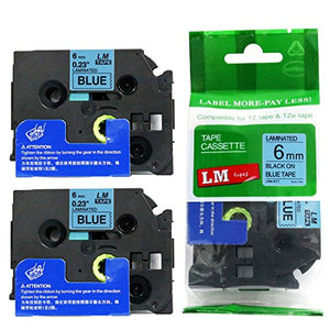 2/Pack - Premium Compatible with Brother TZe-511 Black on Blue 1/4 p-Touch Label Tape, 6mm Laminated replacment TZe511 Tape, TZ511 0.23