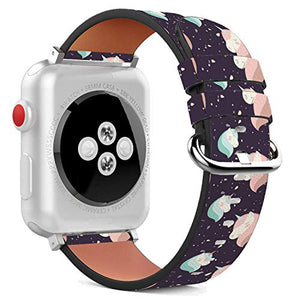 Compatible with Apple Watch - 42mm / 44mm (Serie 6/5/4/3/2/1) Leather Wristband Bracelet with Stainless Steel Clasp and Adapters - Magical Unicorn