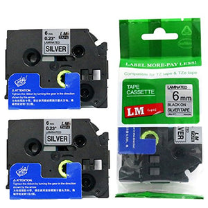 2/Pack - Premium Compatible with Brother TZe-911 Black on Silver 1/4 p-Touch Label Tape, 6mm Laminated replacment TZe911 Tape, TZ911 0.23