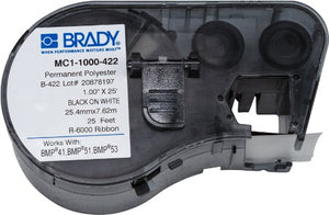 Brady MC1-1000-422 Labels for BMP53/BMP51 Printers