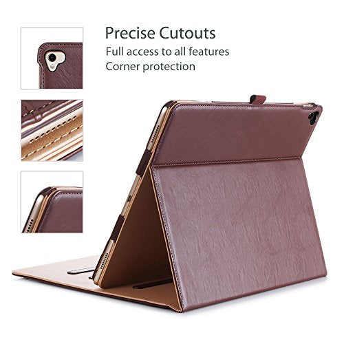 ProCase iPad Pro 12.9 2017/2015 Case (Old Model) - Stand Folio Case Cover for Apple iPad Pro 12.9 Inch (Both 2017 and 2015 Models), with Multiple Viewing Angles, Apple Pencil Holder -Brown