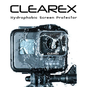 CLEAREX Hydrophobic Screen Protector for GoPro Hero 5,6,7 Black | Water Repellent, Tempered Glass, Ultra-Clear, Anti-Scratch | Capture Clearly (GOPRO 5,6,7 Black)