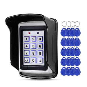 HFeng 125KHz RFID Metal Access Control Keypad Waterproof Cover, Standalone Access Controller for Door Lock System+20 pcs Keyfobs Keychains