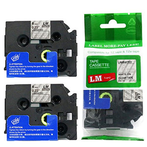 2/Pack - Premium Compatible with Brother TZe-115 White on Clear 1/4 p-Touch Label Tape, 6mm Laminated replacment TZe115 Tape, TZ115 0.23