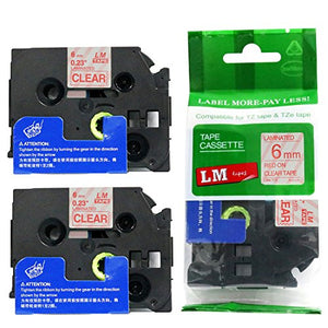 2/Pack - Premium Compatible with Brother TZe-112 Red on Clear 1/4 p-Touch Label Tape, 6mm Laminated replacment TZe112 Tape, TZ112 0.23