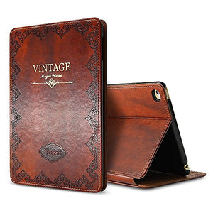 iPad Mini 4 Vintage Brown BOOK Type Leather Case Flip Cover, Miniko(TM) Modern Slim Book Style Case for iPad Mini 4 Premium PU Leather Smart Case Auto Sleep Wake Slim Fit Multi Angle Stand
