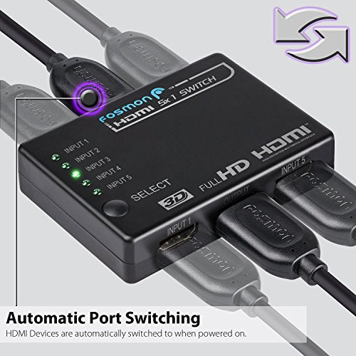 Fosmon HD1832 Intelligent 5x1 5-Port HDMI Switch/Switcher with IR Remote and 1.5 Meter USB Power Cable (Supports 3D)