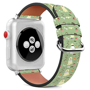 Compatible with Apple Watch - 42mm / 44mm (Serie 6/5/4/3/2/1) Leather Wristband Bracelet with Stainless Steel Clasp and Adapters - Cute Golden Retriever