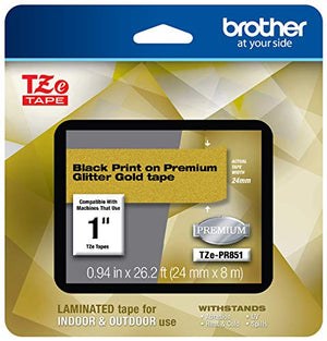 Brother P-touch TZe-PR851 Black Print on Premium Glitter Gold Laminated Tape 24mm (0.94) wide x 8m (26.2) long