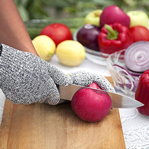 WISLIFE Cut Resistant Gloves - Safety Gloves for Cutting, Cooking Gloves for Meat Cutting, Level 5 Protection, Food Grade Woodworking Gloves, 1 Pair (Large)