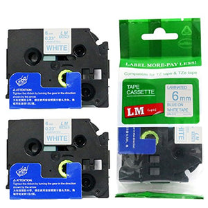 2/Pack - Premium Compatible with Brother TZe-213 Blue on White 1/4 p-Touch Label Tape, 6mm Laminated replacment TZe213 Tape, TZ213 0.23