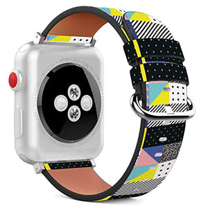 Compatible with Apple Watch - 42mm / 44mm (Serie 6/5/4/3/2/1) Leather Wristband Bracelet with Stainless Steel Clasp and Adapters - Broken Tv 80'S
