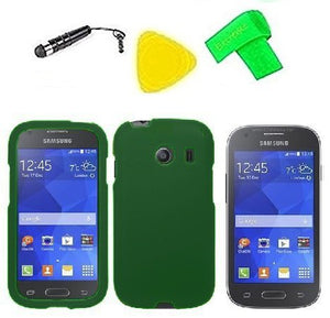 Phone Cover Case Cell Phone Accessory + Extreme Band + Stylus Pen + LCD Screen Protector + Yellow Pry Tool For Straight Talk Tracfone NET10 Samsung Galaxy Stardust S766c (Dark Green)