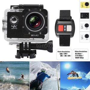 BioRing 4K 16MP WiFi Action Camera Sony Sensor Ultra HD 30m Underwater Waterproof Camera Remote Sports Camcorder and 32GB TF Storage Card (Black)