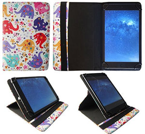 Sweet Tech Kiano SlimTab 8 Multi Elephant Universal 360 Degree Rotating Wallet Case Cover Folio with Card Slots (7-8 inch)