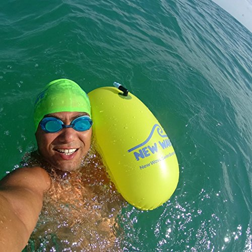 New Wave Swim Bubble for Open Water Swimmers and Triathletes - Be Bright, Be Seen & Be Safer with New Wave While Swimming Outdoors with This Safety Swim Buoy Tow Float (Fluo Green)